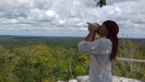 The path that led to the top of the pyramid. Visiting La Danta at El Mirador had been a dream of mine for 22 years. Here I celebrate taking the final steps of a very long journey by sounding my conch. As I see all around I now look for a new adventure.
