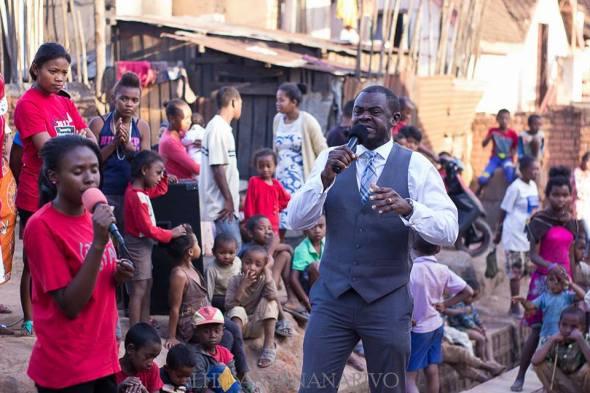 Bishop Larry Odonkor preaching in the streets of Antananarivo, Madagascar. Photo Credit: Facebook/Larry Odonkor