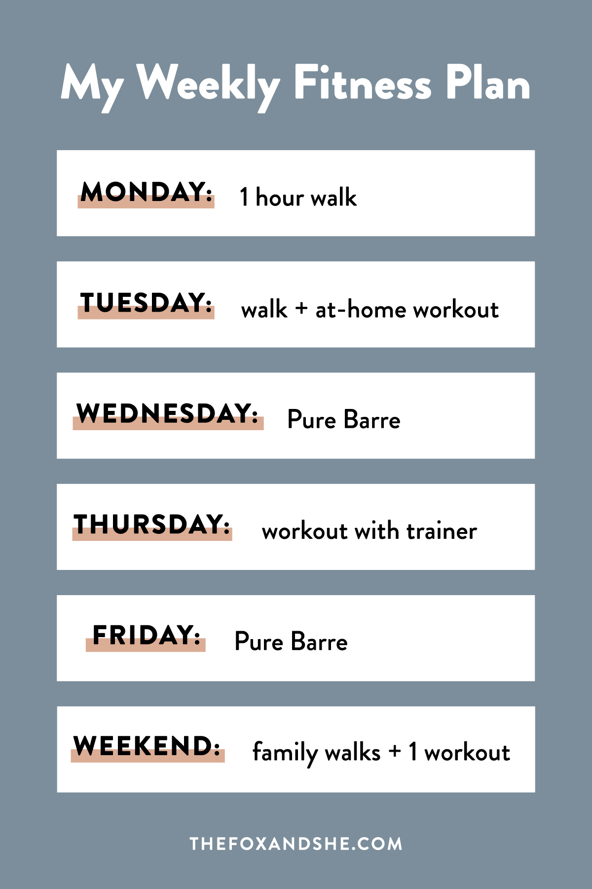 My Weekly Fitness Plan