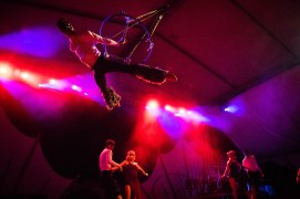 Fractal Tribe, a troupe of acrobats and dancers from Boulder, Colorado perform at the Envision music and art festival in Uvita, Costa Rica.