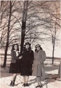 Margie, Martina, Mother, Carmen, winter, snow, 1944