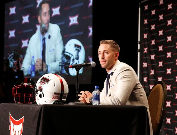 Texas Tech coach Kliff Kingsbury talks at Big 12 Media Days on Monday. (Photo: Tom Fox/The Dallas Morning News)