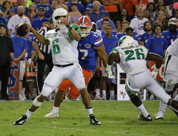 Mason Fine completed just 6-of-22 passes for 66 yards for North Texas on Saturday in a 32-0 loss to Florida, but didn't have much time to throw and had five passes dropped. The Mean Green open Conference USA play at Rice this week. (PHOTO: University of North Texas)