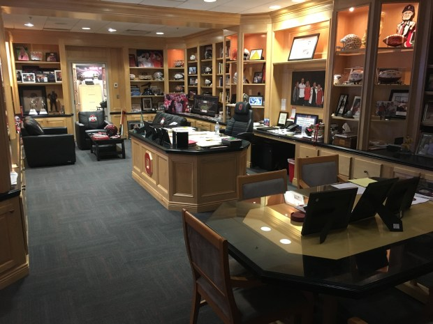 Urban Meyer's office. It's as plus as it looks, and it features lots of Woody Hayes stuff, championship memorabilia and photos of the coach's family. (PHOTO: John E. Hoover)