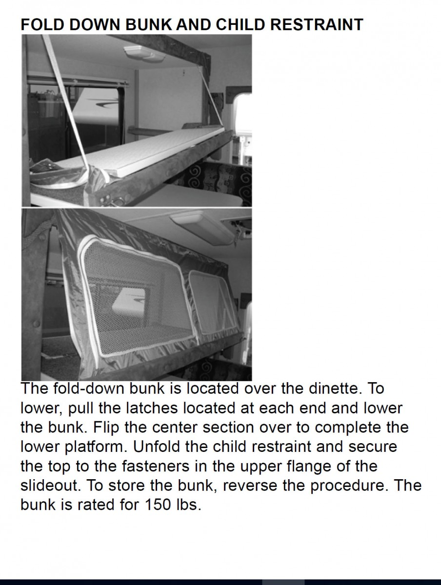FOLD DOWN BUNK AND CHILD RESTRAINT