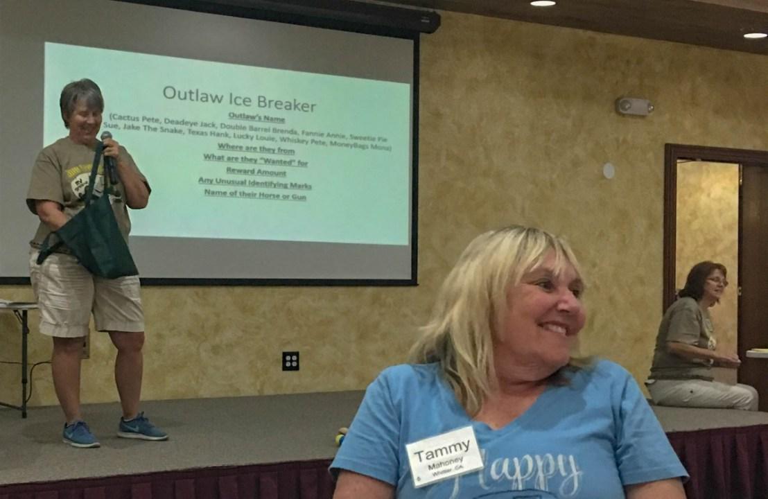 Linda Payne Choosing Teams During Outlaw Ice Breaker