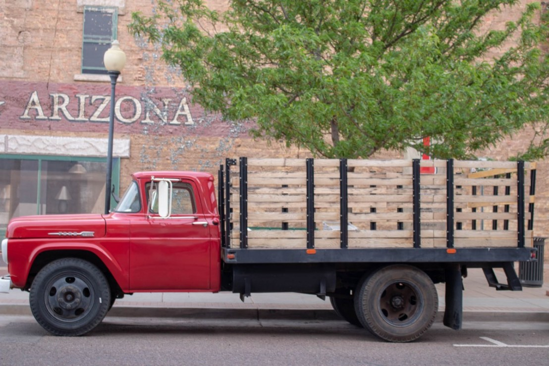 Red Flat Bed Truck