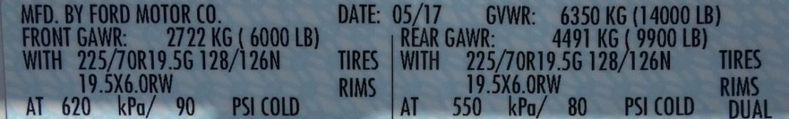 2017 Ford F-450 Gross Axle Weight Rating Door Jam Sticker