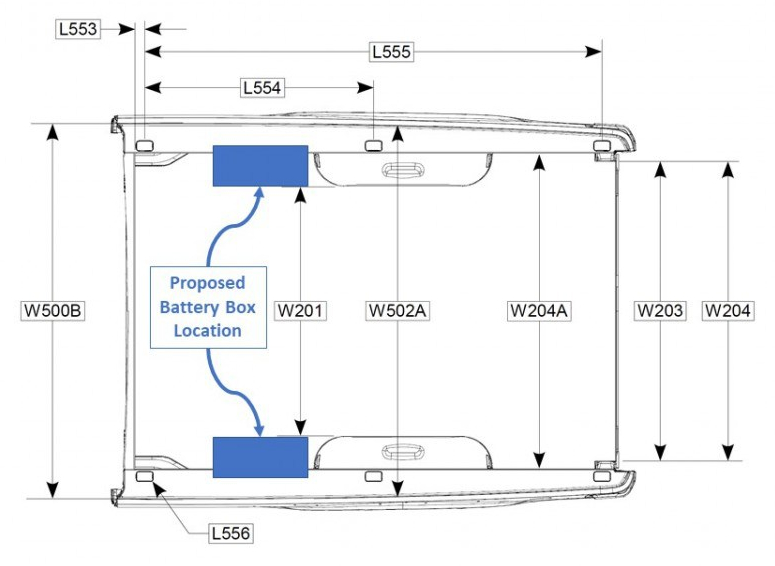 Top View: Proposed Battery Box Placement