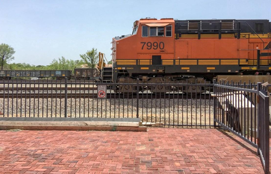 Train Engine Rumbles Past Brownwood Santa Fe Depot