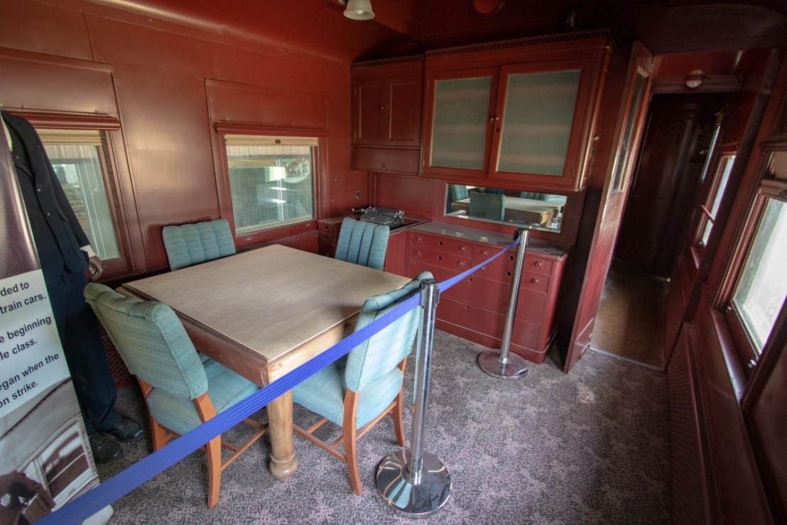 Dining Room in Santa Fe Business Car at Lehnis Railroad Museum