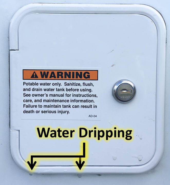 Fresh Water Tank Inlet Access Door Leak