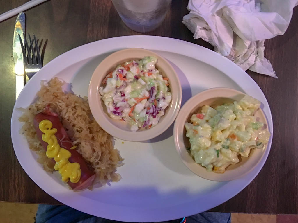 Special Entree With Two Sides - Polish Sausage and Sauerkraut with Slaw and Potato Salad