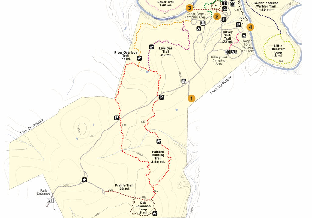 Guadalupe River State Park Partial Trails Map