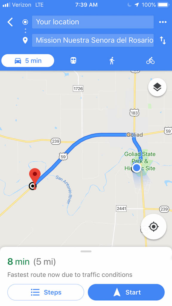 Directions from Goliad State Park to Mission Rosario