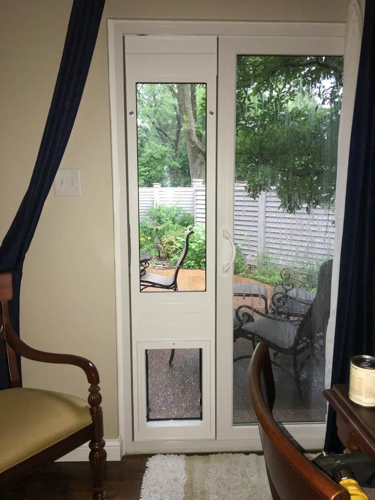 Inside House View of Dog Door Insert For Sliding Glass Door