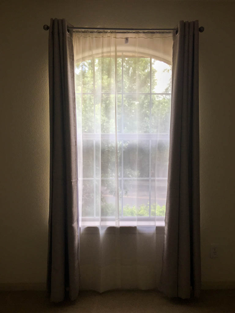Curtains, Rods and Sheers In Upstairs Bedroom