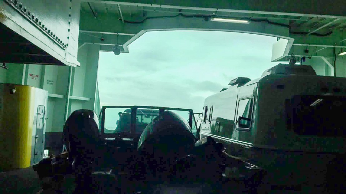 Ferry Ride View From Inside Truck Cab