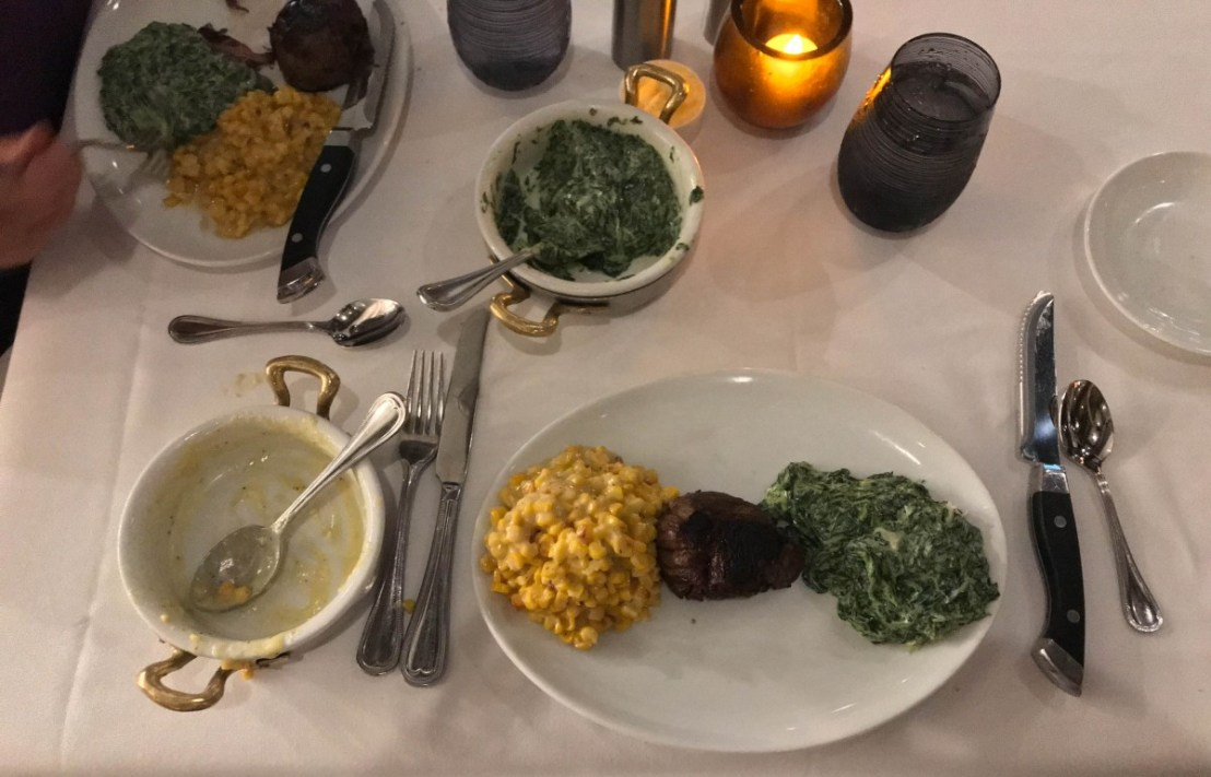 Filet, Creamed Cord And Creamed Spinach
