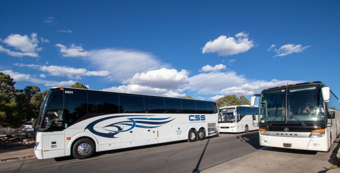 Buses Parked In Front of Bright Angel Lodge