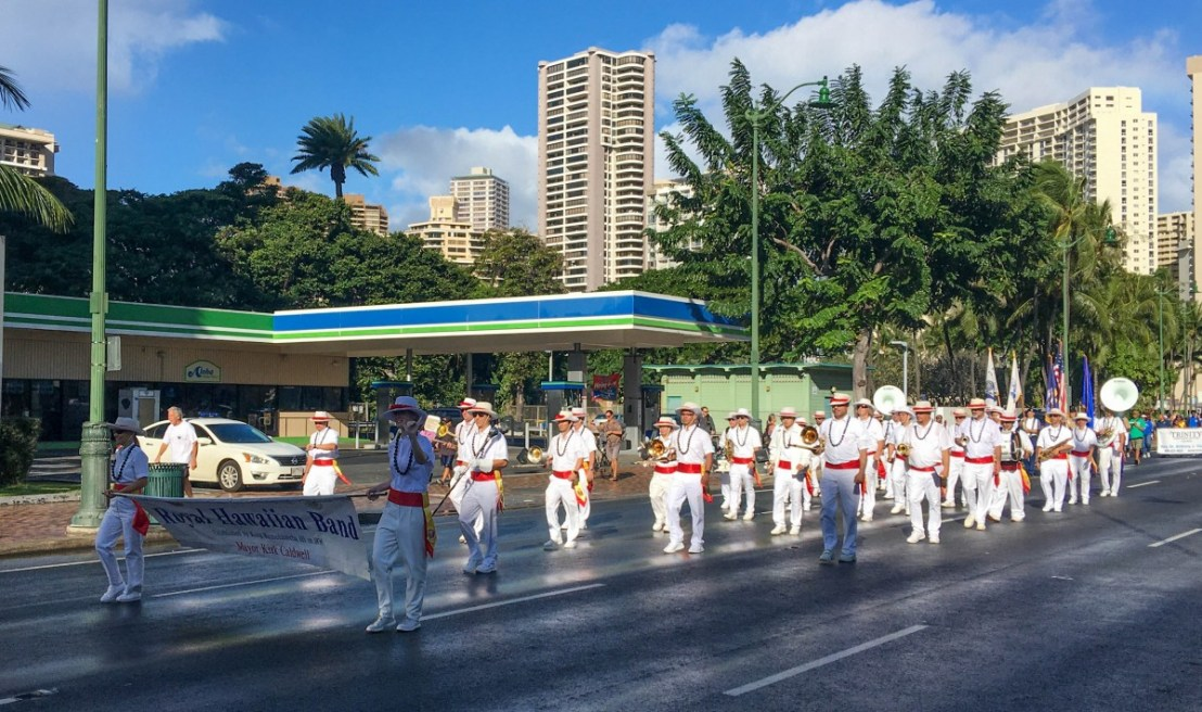 Royal Hawaiian Band Marching On Kalakaua Avenue