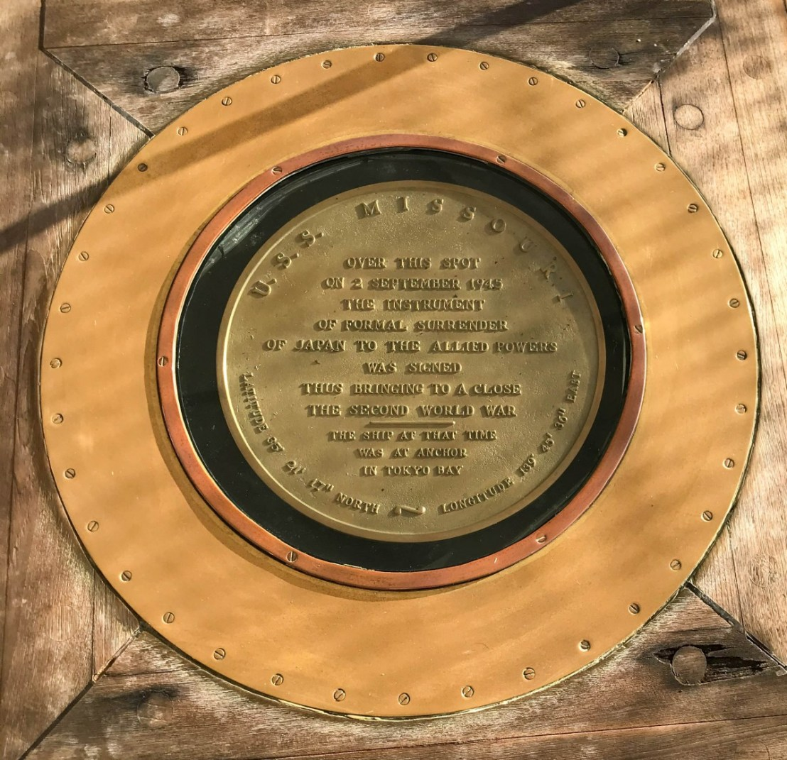 Marker Identifying Where The Surrender Took Place Mounted On Deck