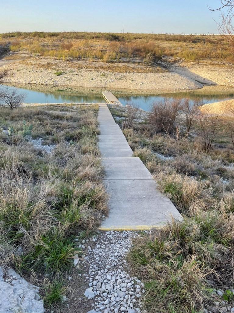Mystery Sidewalk To Water's Edge, Floating Dock In Water