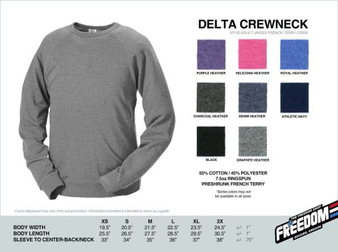 Delta Crewneck Sweatshirt - Freedom stock colors 2015