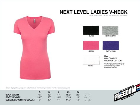 Next Level Ladies V-Neck T-shirt - Freedom stock colors 2015