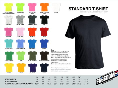 Standard T-shirt - Freedom stock colors 2015