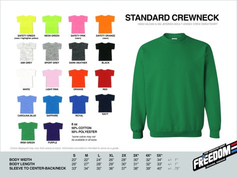 Standard Crewneck Sweatshirt - Freedom stock colors 2015