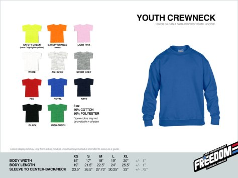 Youth Crewneck Sweatshirt - Freedom stock colors 2015