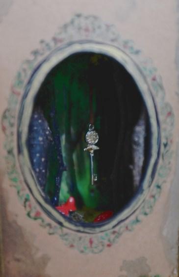 fairytale shadowbox art with miniature key
