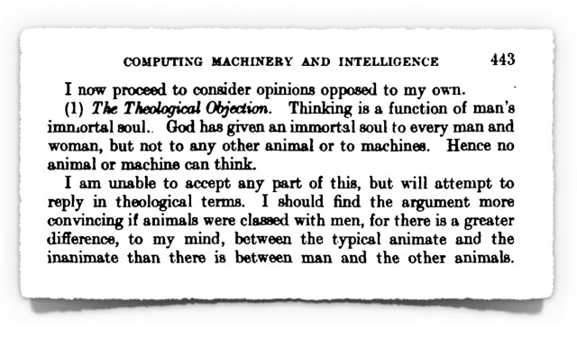 Extract from Alan Turing's 1950 Paper on Computer Intelligence