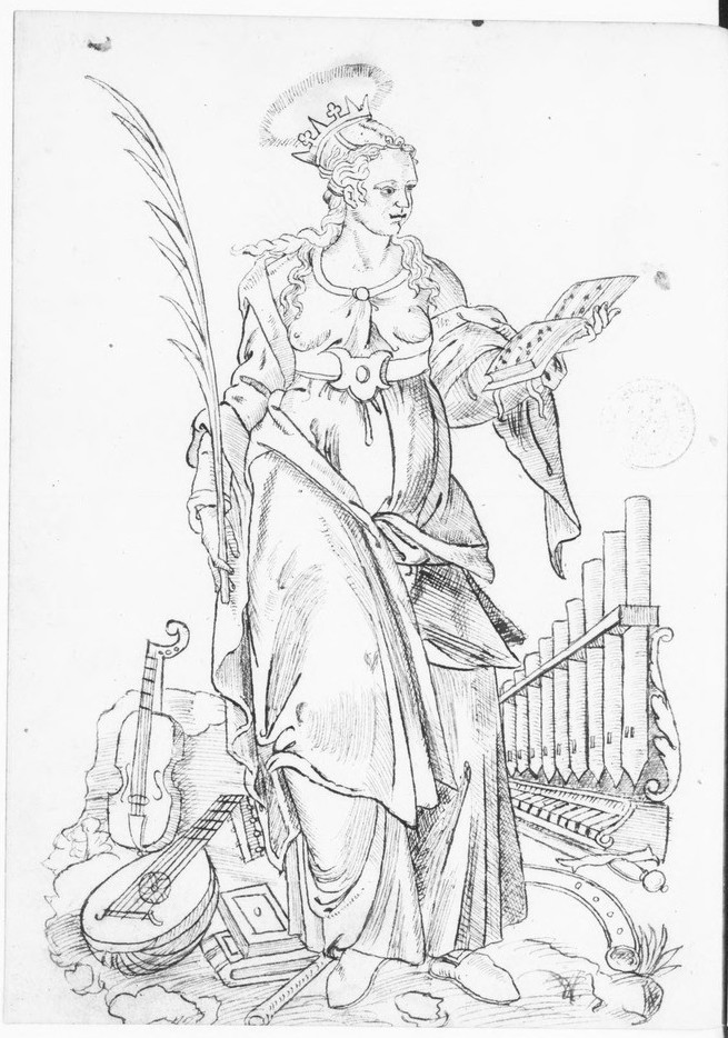 A drawing of a viol, lute, organ, and other instruments.