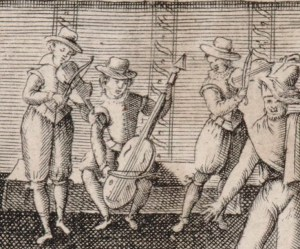 Detail of the charlatan and street performer Tabarin performs with three string instruments.