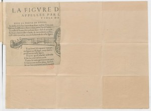 Ripped page depicting a five string French viol.