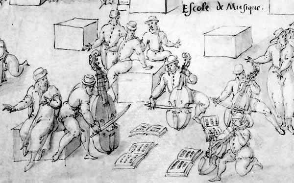 """Detail of """"Escole de Musique"""" in Houël (Paris, 1584)."""