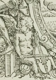 Detail of a cherub playing a five-string viol.