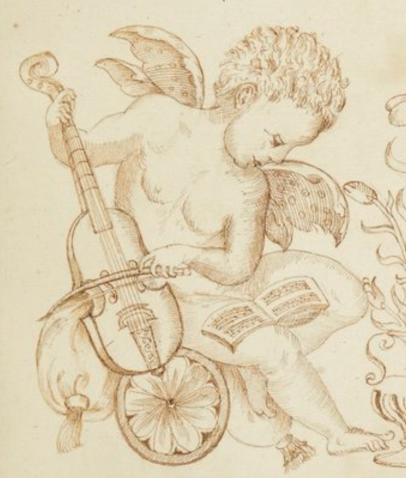 Detail of a cherub playing a five-string French viol.