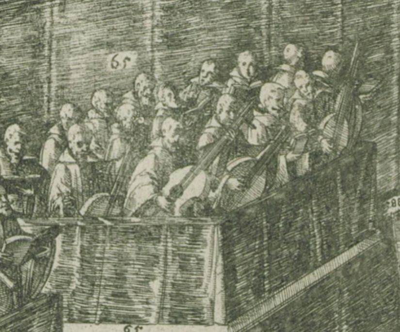 Detail of large viols performing at a state funeral.