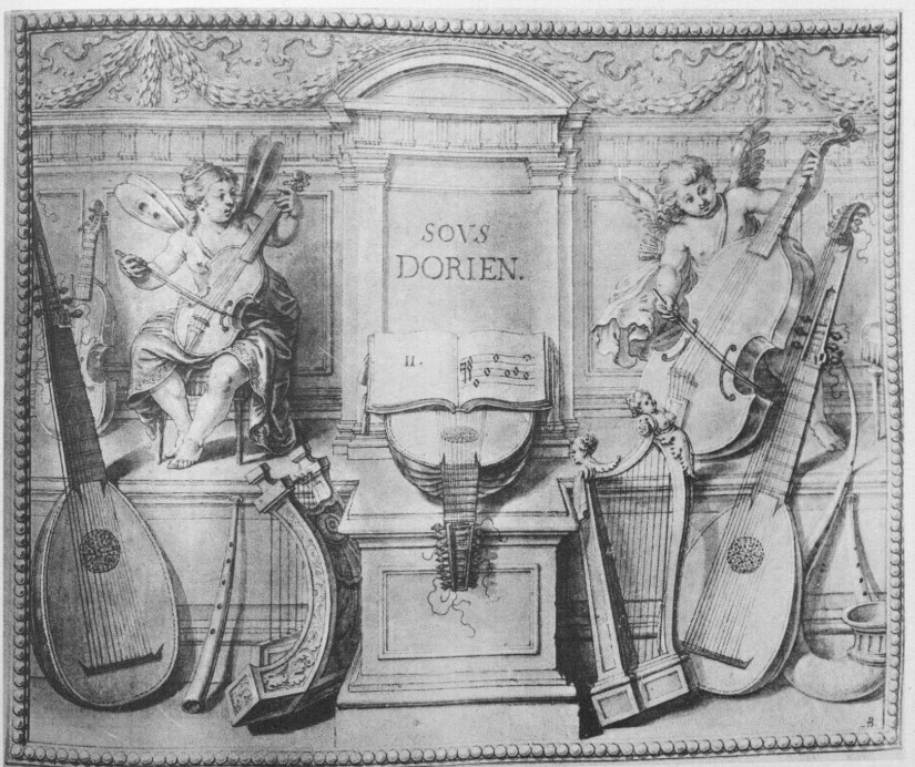 Two viols on the frontispiece to Denis Gaultier's Rhétorique des Dieux (ca. 1652)