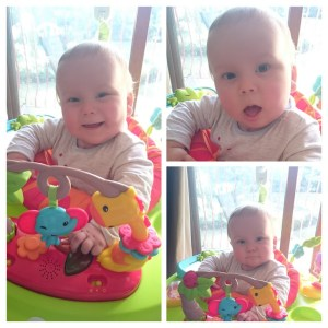 a baby in a Jumperoo - Blogfest 2016 my first blogging conference