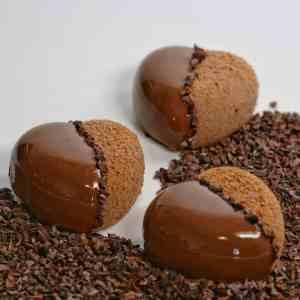 Trois entremets chocolat au lait et fruits de la passion