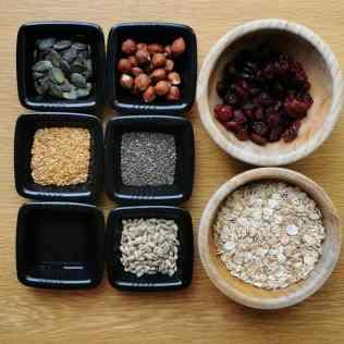 Ingrédients barres céréales healthy vegan maison
