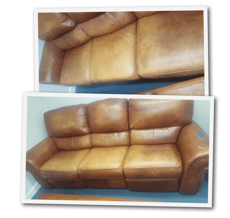 restoring leather sofa living room idea with red how to restore faded furniture kimberly satorre s russet before and after real couch refinish free for removing first photos were shots the last layers of dye