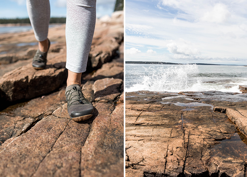 Adventuring with Merrell shoes on the shore of Maine in Acadia National Park
