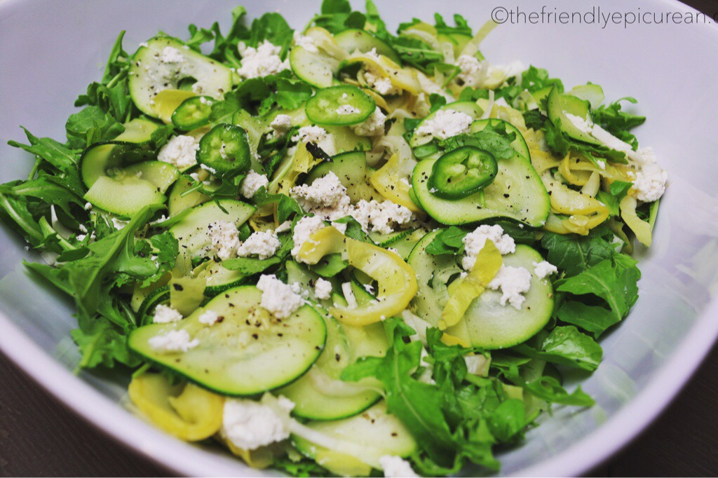 Spicy Zucchini, Squash, (vegan) Ricotta, and Mint Salad - with Wine Pairing by Chef Fabio Viviani