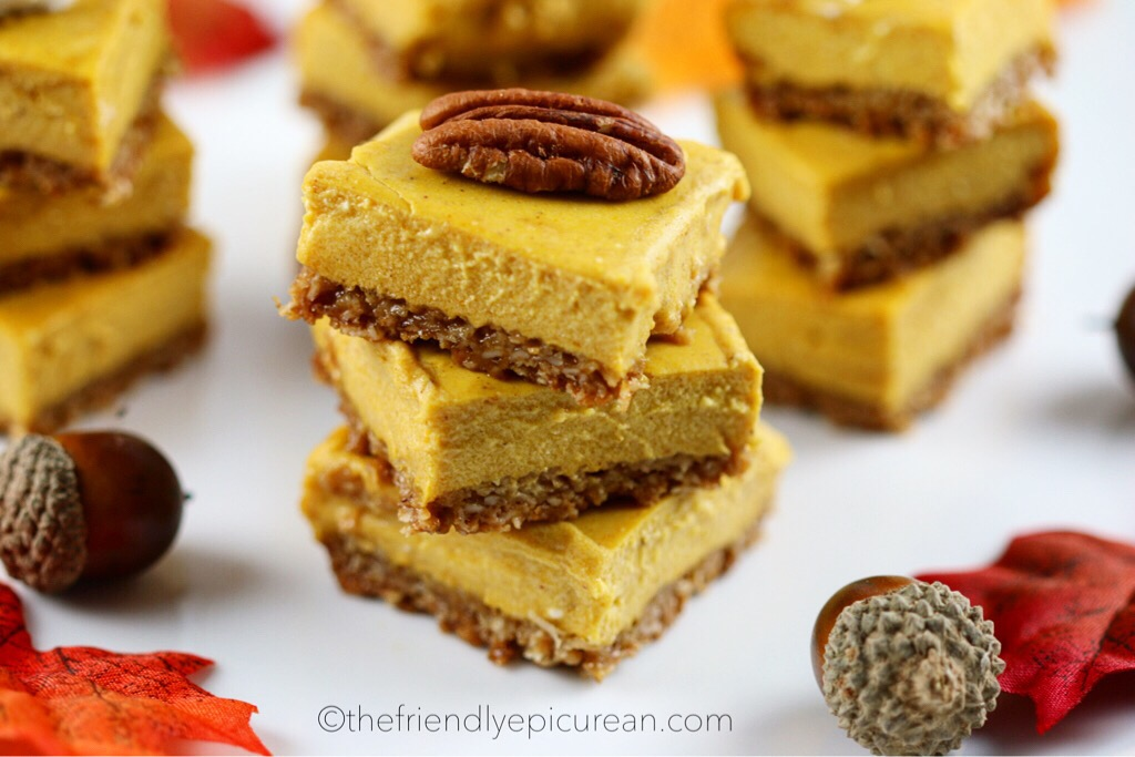 Mini Pumpkin Cheesecake Bars with Oatmeal Crust (vegan, gluten free)
