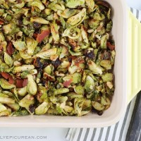 Roasted Brussel Sprouts with Walnuts and Vegan Bacon